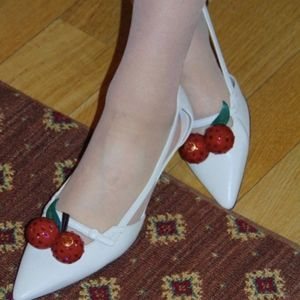 GUCCI Unia Crystal-Cherry Leather 45mm Pumps Ivory